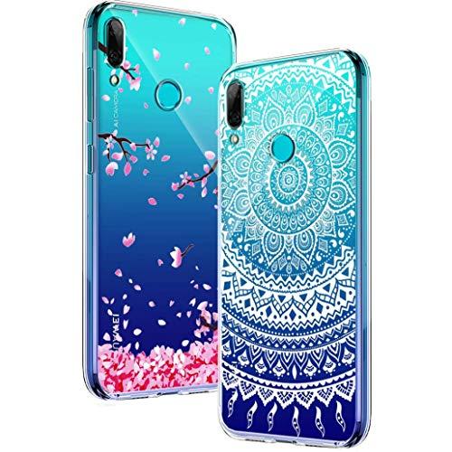 Yoowei [2-Pack] Funda para Huawei P Smart 2019 / Honor 10 Lite, Transparente con Dibujos Ultra Fino Suave TPU Silicona Protector Carcasa para Huawei P Smart 2019 (Flores de Cerezo, Mandala Blanca)