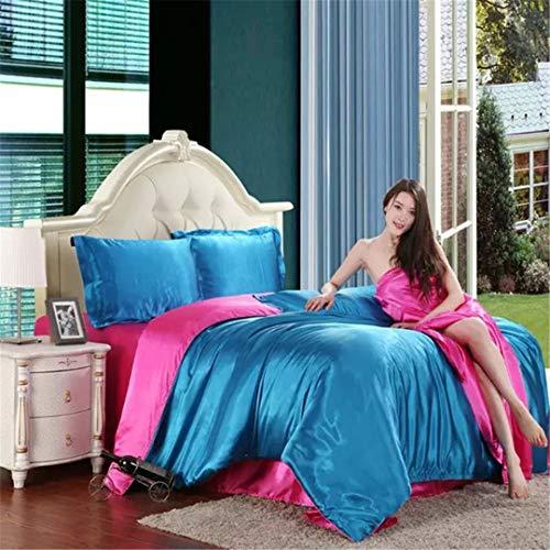 Imitieren Sie Silk Feel Satin Solide Kaffee Rosa Lila Bettwäsche Set King Size Bettbezug Set Bettwäsche Blue and Rose red Twin -