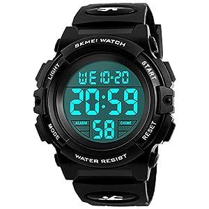 Kinder Digital Uhren für Jungen – Wasserdichte Sport Armbanduhr mit Wecker/Timer, schwarz Kinder Outdoor Elektronische Sport Digital Uhren für teenages Jungen Kinderuhren von UEOTO