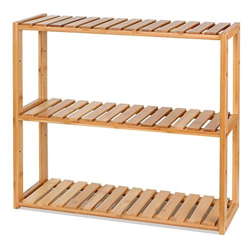 Homfa Bambus Wandregal Badregal Hängeregal Wandschrank Hängeschrank Küchenregal Bücherregal 60x15x54cm
