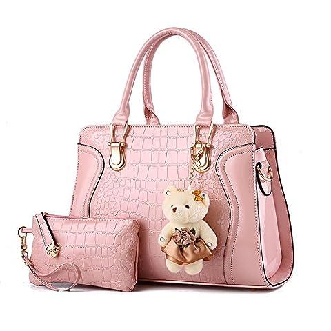 Damentaschen PU Leder Handtaschen Frauen Tasche Damen Handtasche Ledertasche Damenhandtaschen mit Geldbörse und Dekoration Bär Rosa