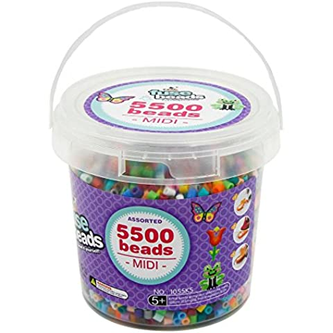 ART:EGO ™ - Fuse Beads Bucket Set - S-5mm - 5,500 Count Bead Jar 20 Multi-Mix Colors - Perfect Toy for Kids by ART:EGO
