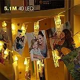 innoolight lumière Chaînes 40Clips 5,1m humeur Lumières avec photo Pinces Batterie fonctionnant Décoration pour photo suspendu Memos oeuvres d'art