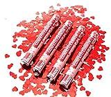 Partyjoker 10 Konfettikanone mit roten Herzen 40cm für Hochzeit   Extra lauter Knall   Konfetti Shooter mit hoher Schussweite