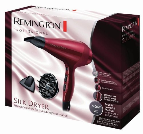 Remington AC9096 Silk -  Secador de Pelo Profesional,  Iónico,  Difusor y Concentrador,  2400 W,  Rojo