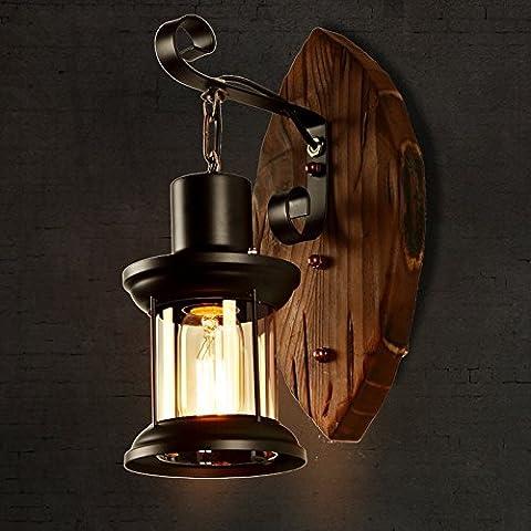 VC-le bois massif chambre lampe de chevet verre american dining room hall lanterne,feu de mur de bois marin