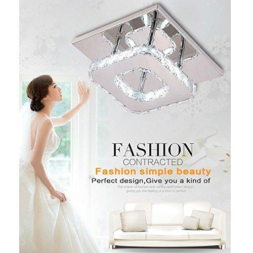 Moderne LED Kristall Lampe aus Edelstahl und Kristallglaselement I 12W Leistung I Kronleuchter f. Flur Wohnzimmer Schlafzimmer Kinderzimmer Esszimmer I stromsparend I Leuchtmittel sehr gute Leuchtkraf