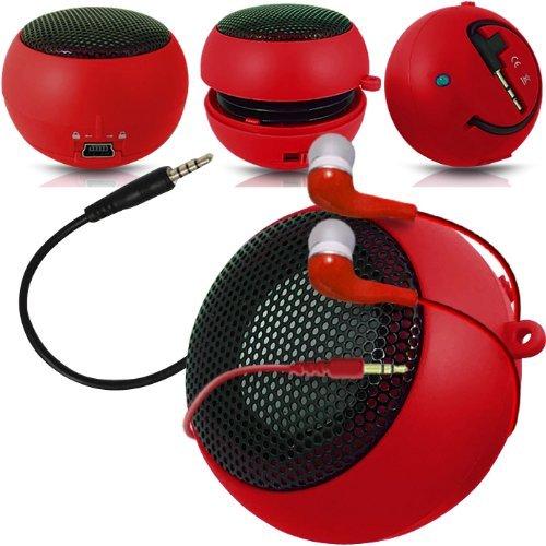 Preisvergleich Produktbild C63 ®-Nokia Lumia 1520-Kapsel-Lautsprecher Bass-Lautsprecher (aufladbar,  3, 5 mm-Klinkenstecker auf 3, 5-mm-Eingang In-Ear-Kopfhörer,  Rot