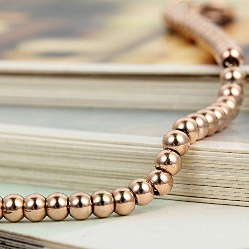 Flongo Bracelet Acier Inoxydable Perle Pendentif Coeur de Pêche Chic Gourmette Chaîne Réglable Fantaisie Bijoux Cadeau Couleur Optionnel pour Femme rose or