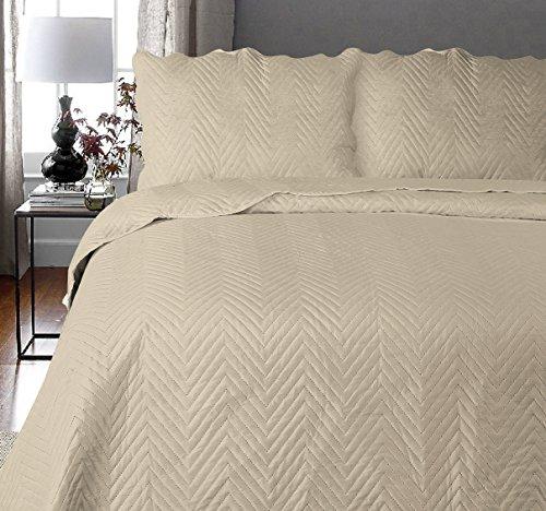 Uni Couette Chaude pour lit Patchwork Édredon Jeté de lit   Polyester   Taille 220 x 240 cm   Arcade Naturel   par Mode de Coton