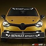 Motorsport Aufkleber Renault Sport + Blendstreifen 130cm,Keil,Sonnenschutz Rennfahne Clio Sport Rennstreifen +Logo-Aufkleber,Decal, Sticker,aus Hochleistungsfolie, Sonnenblende,Keil,Tuning `+ Bonus Testaufkleber