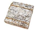 Birkenplatte, Rinde,  10 Stück, 15 x 15 cm, Weiss