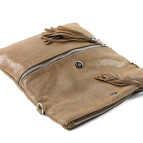 ital. Ledertasche Clutch Umhängetasche Unterarmtasche Glattleder Schlangenoptik T130 T130B Braunbeige