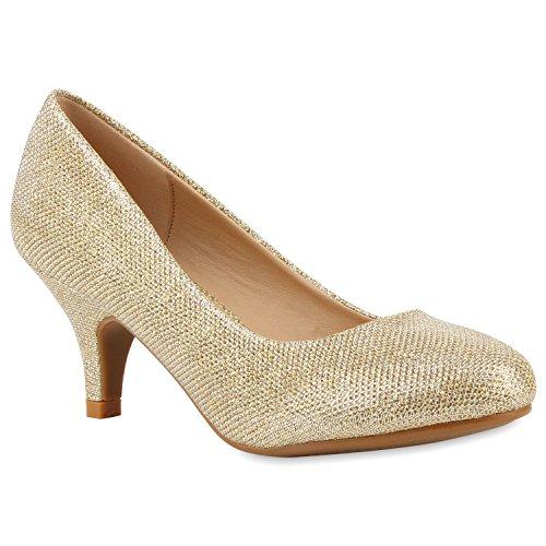 Klassische Damen Pumps Strass Glitzer Party Metallic Stilettos Absatz Abend Lack Schuhe 113907 Gold Gold 36 Flandell