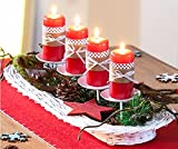 Unbekannt Kerzentablett Adventskranz Kerzenteller Dekorationsschale Rattan weiß