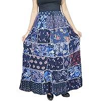 Mogul Interior Women Maxi Skirt Blue Printed Patchwork Gypsy Rayon Flare Skirts S/M