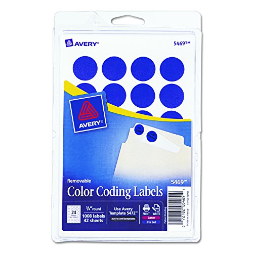 Print or Write Removable Color-Coding Labels, 3/4in dia, Dark Blue, 1008/Pack