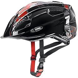 Uvex Quatro Junior Casco Ciclismo, Niños, Negro/Rojo, 50-55