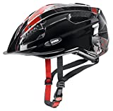Uvex Kinder Quatro junior Fahrradhelm, Black red, 50-55 cm