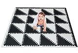 meiqicool Puzzlematte für Kinder schaumstoffmatte Eva Schaumstoff Foam Puzzle spielmatte spielteppich-puzzleteppich Baby Schaumstoff für Kid Dreieck-Puzzle Schwarz und weiß Größe(139x139x1cm) 3510HEI