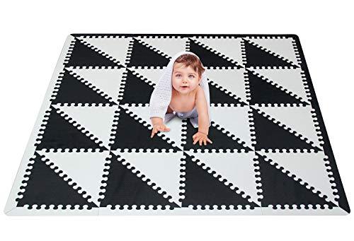 meiqicool - Alfombra puzzle infantil para bebés de Foam (EVA), suelo extra acolchado para niños,Alfombras de Juegos Infantiles con Valla-Alfombra triangular Negro y blanco 050HEI