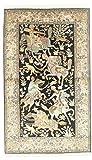 Nain Trading Kaschmir Reine Seide 158x95 Orientteppich Teppich Beige/Dunkelbraun Handgeknüpft Indien