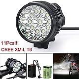 HCFKJ 28000LM 11 x CREE XM-L T6 LED 6 x 18650 Fahrrad Radfahren Licht wasserdichte Lampe