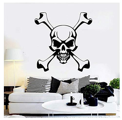 Weihnachten Schädel Und Knochen Wandtattoos Piratensymbol Wandaufkleber Für Bar Jolly Roger Kunstwandhauptdekoration Wanddekor -