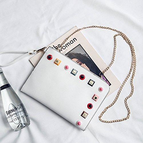 Weibliche handtasche farbe nagel Kette umschlag tasche Schulter messenger bag Weiß