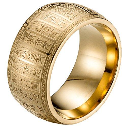 PAURO Herren Edelstahl 11mm Retro Acht Flüche Mantra Signet Gravur Amulett Ring Gold Größe 54 (17.2)