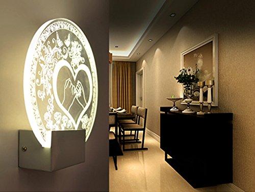 Lampada led moderna applique da interno w in acrilico e