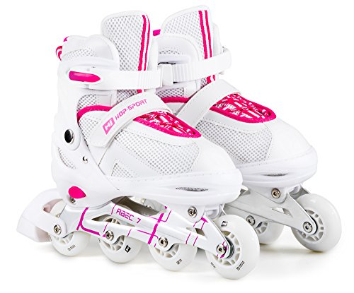 Hop-Sport 3 in 1 Inliner Inlineskates Rollschuhe Quad Dreirad Roller Jugend Erwachsene Farbauswahl Größe: 34-41 (Pink L (38-41)) (3 Jugend-skate-schuhe)