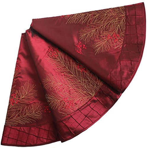 SORRENTO Deluxe Embroidered Pine Branches Cherry with Pintuck Border ,Christmas Tree Skirt 90CM Ltd.
