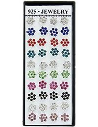 Smile YKK 20 paires Boucles d'oreilles Clous en Forme Fleur 8 Couleurs Cristal Oxyde de Zirconium Plaqué Argent 925