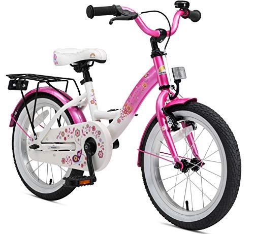BIKESTAR Premium Sicherheits Kinderfahrrad 16 Zoll für Jungen und Mädchen ab 4-5 Jahre ★ 16er Kinderrad Classic ★ Fahrrad für Kinder Pink & Weiß