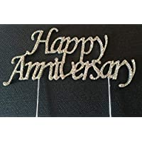 Large Silver Happy Anniversary Diamante Sparkly Cake Topper Decoration Wedding