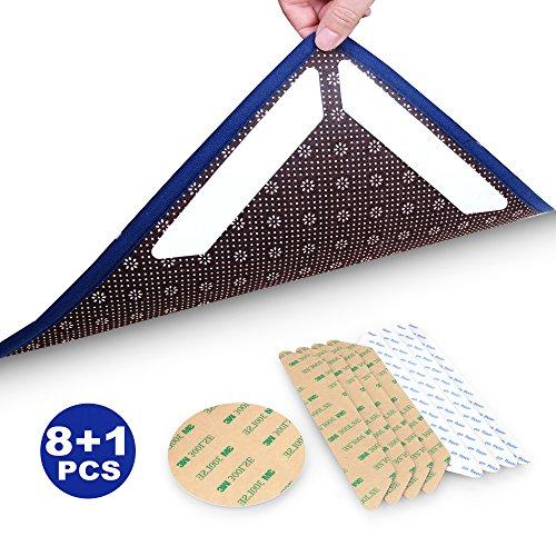 feramox Größe Teppich Greifer Anti Curling Teppich Klebeband 8Rutschfeste Teppich Greifer Pad für Outdoor Küche Badezimmer + Teppich Center Greifer Set 2, Small Size -