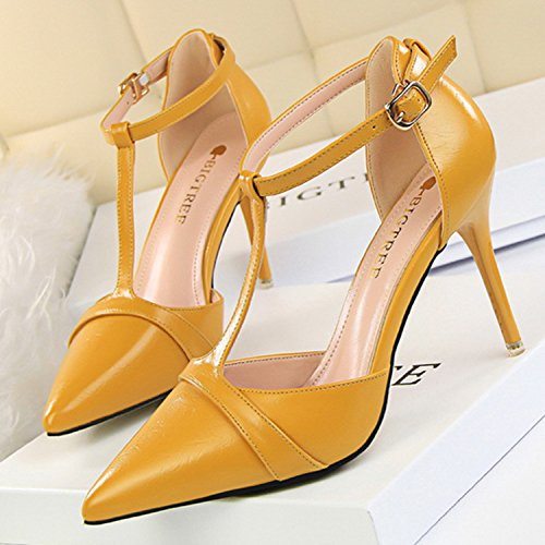 Oasap Women's Pointed Toe T-strap High Stiletto Pumps Yellow