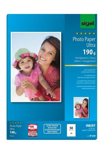 Preisvergleich Produktbild Sigel IP639 InkJet-Fotopapier Ultra, A4, 50 Blatt, hochglänzend, extrem lichtbeständig, 190 g - auch mit 20 Blatt