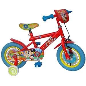 Trace Sport - MIC1204 - Jeu de Plein Air - Vélo Mickey Cadre Y - Rouge - 12 Pouces