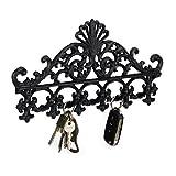 Relaxdays Garderobenleiste aus Gusseisen, 5 Haken, Antiker Landhausstil, HBT: ca. 17 x 35 x 3,5 cm, Hakenleiste, schwarz