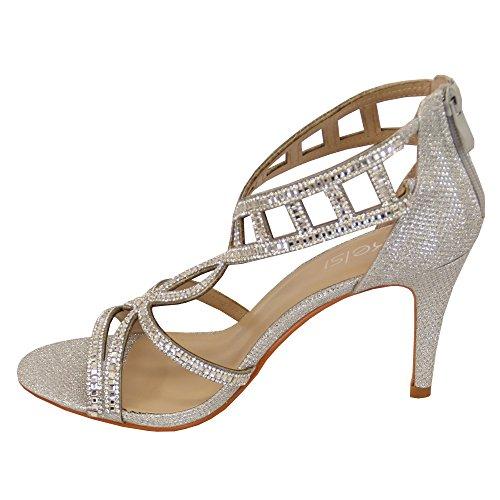 Dames Sandales Kelsi Femmes Cheville Paillette Diamant Crayon Talon Escarpin Bout Ouvert Argent - BH1704