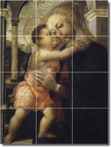 SANDRO BOTTICELLI RELIGIOSO BAñO AZULEJO MURAL 24 X 81 28 CM 21 CON (12) 8 X 8 AZULEJOS DE CERAMICA