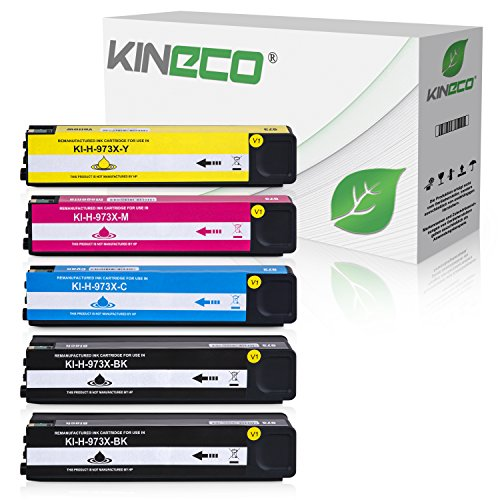 5 Kineco Tintenpatronen kompatibel zu HP 973X für PageWide Pro 452dn 452dw 452dwt 477dn 477dw 477dwt 552dw 577dw 577z -