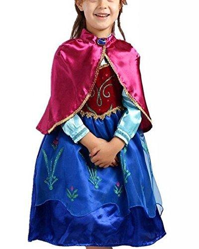 Vogueeasy Prinzessin Eiskönigin Kostüm Kinder Glanz Kleid Mädchen Weihnachten Verkleidung Karneval Party Halloween Fest Kostüm 100