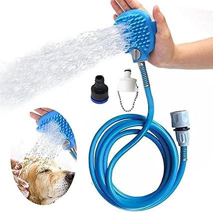 2 in1 Spruzzatore Doccia + Spazzola per Massaggi per Cani, Strumento da bagno Multifunzione con Tubo da 2,5 m + 2 Adattatori