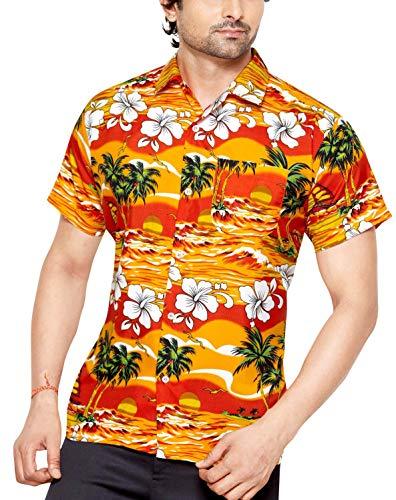 CLUB CUBANA Chemise hawaiienne classique, étroite, florale, décontractée à manches courtes pour hommes S