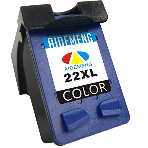 AideMeng Remanufacturado Reemplazo para HP 22XL 22 Cartuchos de Tinta (1 Tricolor) Compatiable con HP Deskjet F4180 F2180 F2280 F2290 F380 F335 F390, HP Officejet 4315 4355 Impresora (22 XL Color)