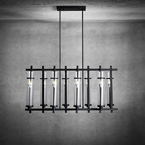 RBB Personalisierte dekorative Beleuchtung Moderne und Einfache Holz Glas Schatten Linie Schlafzimmer Den Kronleuchter Kronleuchter Kreative Persönlichkeit Das Restaurant 260 * 380 Mm -