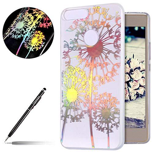Kompatibel mit Hülle Huawei Honor 9 Lite Silikon Schutzhülle Glänzend Glitzer Kristall Durchsichtige Handy Schutzhülle Ultra Dünn TPU Handy Tasche Schale Etui Transparent Bumper,Löwenzahn Baum